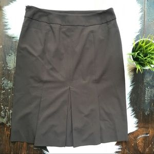 Ann Taylor LOFT Brown Pencil Skirt Pleated Back 10